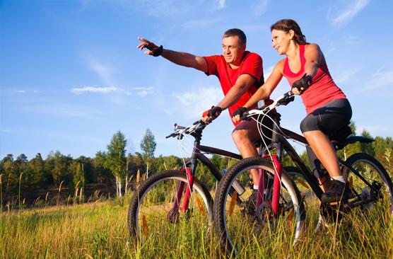 Radfahren und Wandern